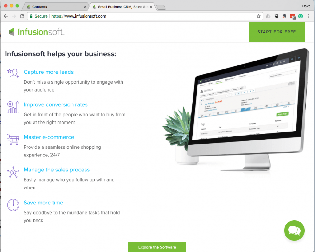 Infusionsoft Home Screenshot
